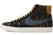 NIKE 403729-702  Wmns Blazer Mid PRM 开拓者黑黄色女子休闲板鞋