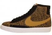 NIKE 586304-002 Wmns Blazer Mid Suede Print 黑黄色女子休闲板鞋
