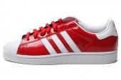 adidas D65602 Superstar II 三叶草贝壳头红色男子休闲板鞋