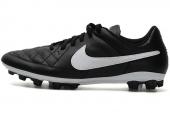 NIKE 631285-010  Tiempo Genio Leather AG 黑白色男子足球鞋