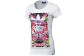 F82111 adidas三叶草印花图案白色女子针织短袖T恤