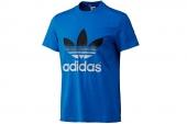F80180 adidas三叶草蓝色男子针织短袖logoT恤