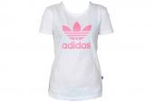 S08447 adidas三叶草白色女子针织短袖T恤