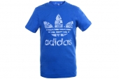 M69226 adidas三叶草蓝色男子针织短袖T恤