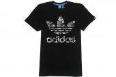 M69227 adidas Fill Trefoil T 三叶草黑色男子针织短袖T恤