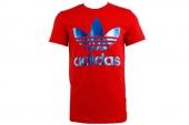 M69234 adidas ILLus Trefiil T   三叶草红色男子针织短袖T恤