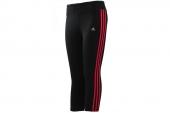 F89746 adidas黑红色女子针织七分裤