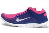 631050-600 Nike Wmns  Free 4.0 Flyknit 蓝粉色女子跑步鞋