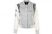 S26633 adidas W CL PD BBL JKT 灰白色女子针织棒球服