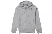 S17969 adidas Ess Mid FZ Hood 麻灰色男子针织夹克