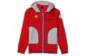 S16926 adidas FCB FZ Hood 拜仁慕尼黑系列红色男子针织夹克